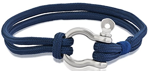 Edforce Stainless Steel Navy Blue Nautical Men's Women's Shackles Screw Tactical Rope Cord Wrap Cord Wristband Bracelet Cuff, - Oceano Sunglasses