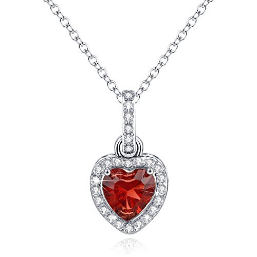 Normcore Love Heart Necklace Pendant Simulated Garnet Birthstone January Birthday Gifts for Women Girls Gifts for Wife Girlfriend for Her Jewelry Gifts for Women Deep Sterling Silver Tourmaline Pendant