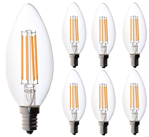 60 watt Candelabra Bulbs, Bioluz LED Candelabra Bulbs, Dimmable Filament Clear 60 Watt LED Bulbs (Uses only 4.5 watts), E12 Base, C37 LED Filament Candle Bulbs, Pack of 6