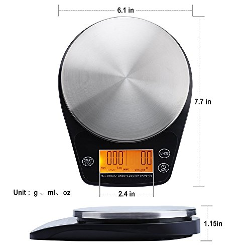 eravsow digital hand drip coffee scale stainless steel