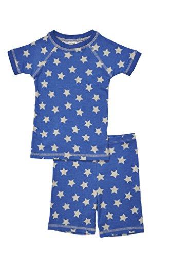 Brian the Pekingese Girls 100% Organic Cotton Short Sleeve and Shorts Pajamas (5T, Star)