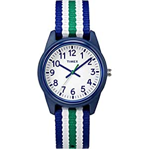 Timex Boys TW7C10000 Time Machines Blue/Green/White Stripes Nylon Strap Watch