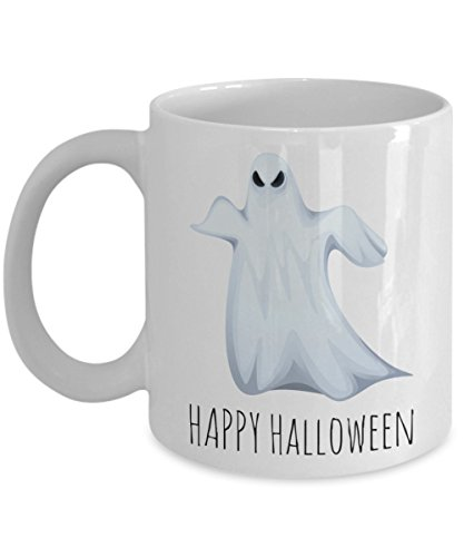 Happy Halloweenie Ghost Morning Cocoa Mug - Funny Sayings Cup Gift for Boys & Girls - Novelty Gifts For Halloween 2017 2018 - Best Cheap Holiday Ideas For Children - Fun Haunted Cup For Kids -