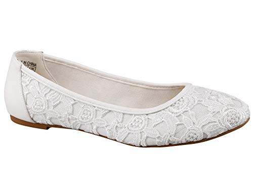 Greatonu Women Shoes Cut Out Slip On Synthetic Lace Ballet Flats (8 US/39 EU, White with Lining (Suitable for Cold Weather))