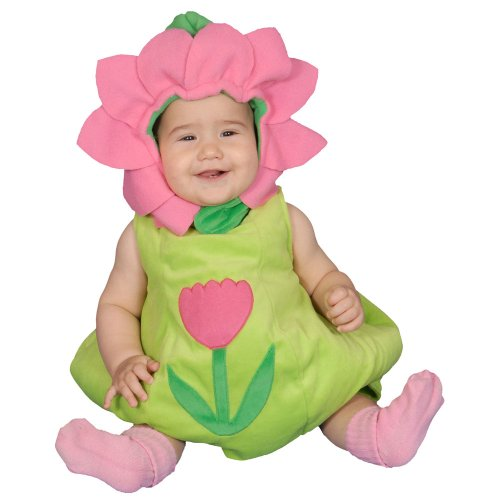 Infant Flower Costume 0-6 Months (Dress Up America Dazzling Baby Flower, Green/Pink, 0-6 Months)