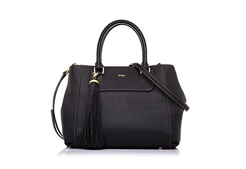 bonia-womans-black-soft-satchel