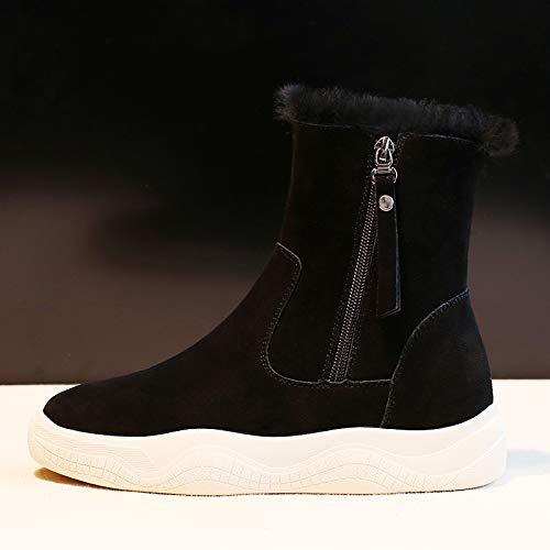 Shukun Stivaletti Scarponi da Neve Tracolline da Donna Winter Fashion Scarpe in Cotone potenziato, 40, Nero