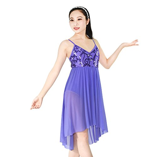 MiDee Dance Dress Lyrical Latin Costume Camisole Sequin High-low skirt For Girls (SA, Purple) - Disco Dance Costumes For Competitions