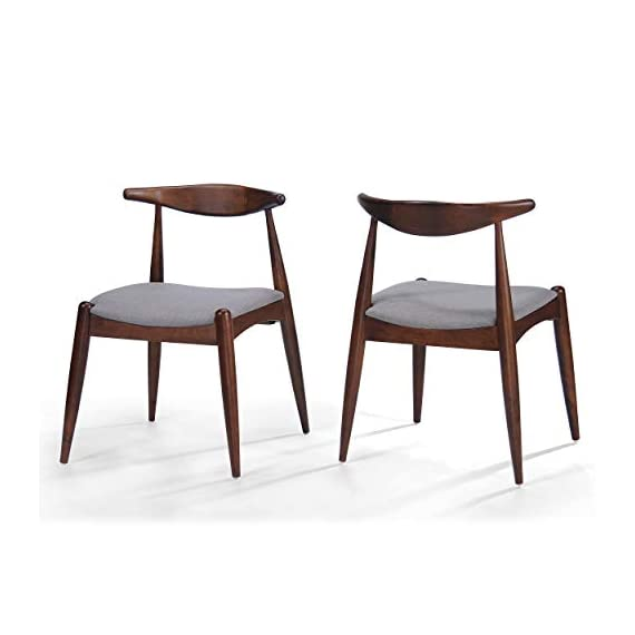 Christopher Knight Home Francie Fabric with Walnut Finish Dining Chairs, 2-Pcs Set, Dark Beige / Walnut - Includes: Two (2) Dining Chairs; Dimensions: 21.25 inches deep x 21.45 inches wide x 29.52 inches high Seat Width: 18.25 inches Seat Depth: 18.00 inches Seat Height: 17.75 inches Fabric Composition: 100% Polyester - kitchen-dining-room-furniture, kitchen-dining-room, kitchen-dining-room-chairs - 41eFBP%2B0slL. SS570  -