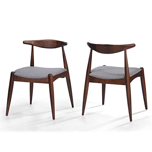 Christopher Knight Home Francie Fabric Finish Dining Chairs Set of 2 , Dark Beige and Walnut