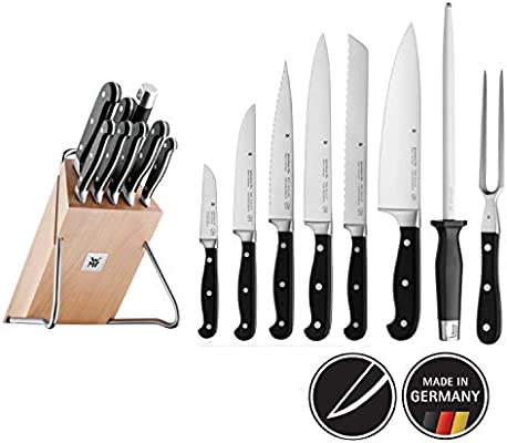 WMF Spitzenklasse Plus Juego 8 Cuchillos de Cocina con Soporte, Acero Inoxidable, Madera, 9 Piezas