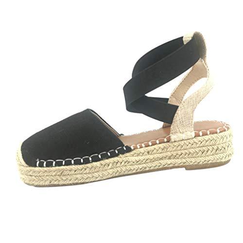 Womens Espadrille Platform Wedge Sandals Strappy Closed Toe Mid Heel Pumps Flats Dress Shoes Size 5-9 (US:5.5, Black)