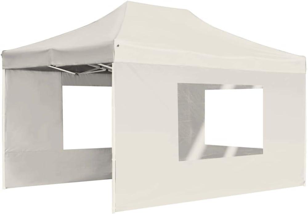 vidaXL Carpa Plegable Profesional con Paredes Aluminio Cenador Pagoda Pérgola Fiestas Celebraciones Estructuras Recintos Parasoles 4,5x3 m Crema: Amazon.es: Hogar