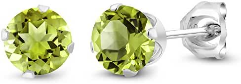 1.00 Ct Round Natural Green Peridot Gemstone Birthstone 925 Sterling Silver 5MM Women's Stud Earrings