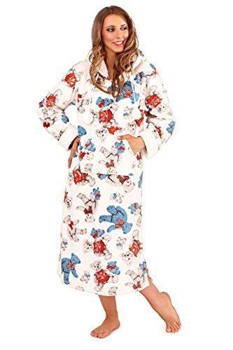 Femmes Vêtement De Loisirs Robe De Nuit Robe De Chambre Tout En Un & Pyjama Combinaison Coffret Cadeau Set - Robe De Nuit Bleu Motif Nounours, Taille M - EU 40-42