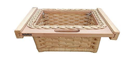 """NIMRA Wooden Wicker Basket (Width 16"""" Depth 13"""" Height 6"""", Light brown)"""