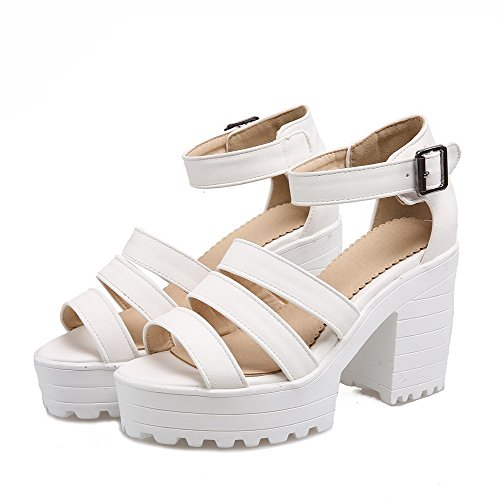 Buckle Solid Toe High Women's White Sandals Heels Open WeenFashion Pu wPxAtpq7PH