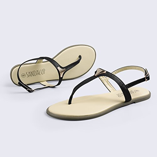 SANDALUP Flat Thong Sandals with Triangle Metal for Women