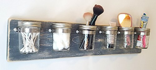 - Bathroom Organization by Out Back Craft Shack: Farmhouse Decor 6 Mason Jar Toothbrush Holder