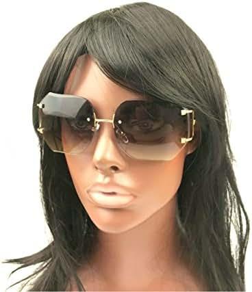 MINCL/Hot Oversized Rimless Sunglasses Women Clear Lens Eyewear