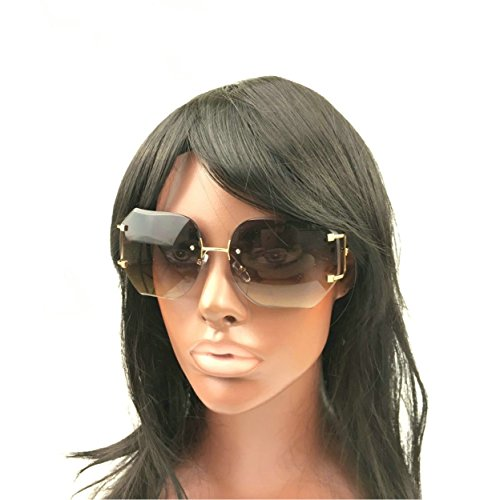MINCL/2016 HOT RIMLESS SUNGLASSES WOMAN CLEAR LENS (gold, gray)