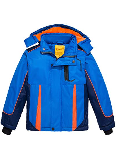 Wantdo Boy's Waterproof Ski Jacket Windbreaker Fleece Lined Winter Coat Blue 6/7