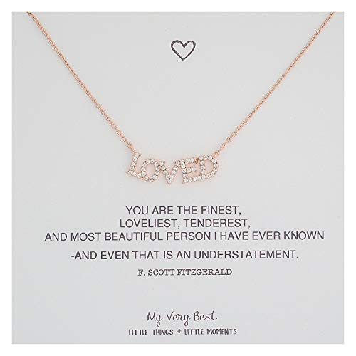 My Very Best Sparkling Cubic Loved Necklace (Rose Gold Plated Brass)