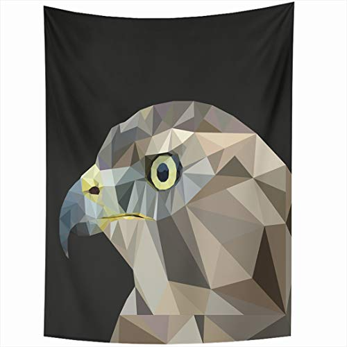 Ahawoso Tapestry 50x60 Inch Cute Red Falcon Hawk Lowpoly On Black Style Eagle Nature Aggressive Bald Beak Bird Design Wall Hanging Home Decor for Living Room Bedroom Dorm ()