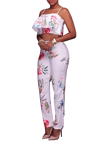 64f117fb8d7 YouSun Women s Floral Print Sleeveless Strap Top Casual Bodycon Stretch  High Waist Long Pants 2 Pieces