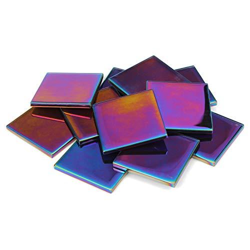 Milltown MerchantsTM 1.8 Inch (48mm) Iridescent Mosaic Tile - Bulk Glass Mosaic Tiles - 1 Pound (16 oz) Multicolored Mirror Tile Assortment for Backsplash, Murals, Stepping Stones, and Mosaics