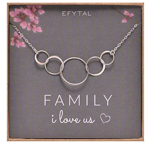 EFYTAL Sterling Silver Family Necklace for Mom of 3 Children I Love Us Card 5 Kids Mothers Day Jewelry Wife Gift (Mom And Three Children Necklace)