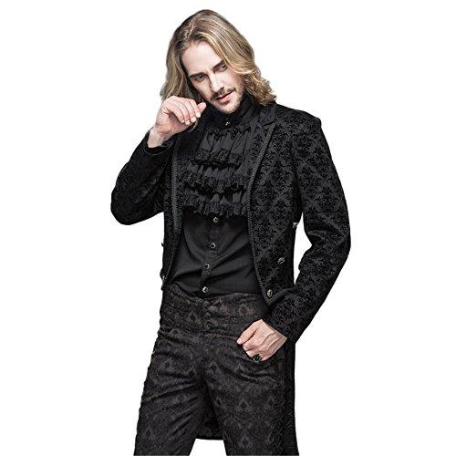 Victorian Frock Coat Costume (Mens Velvet Goth Steampunk Victorian Frock Coat Jacket Renaissance Halloween Costume (XL, Black))