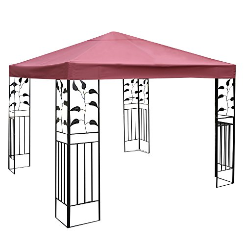 TANGKULA 10'x10' Canopy Cover Outdoor Patio Gazebo Replacement Top Cover Wedding Party Event Tent Cover Heavy Duty Durable Waterproof Sun Snow Rain Shelter 1-Tier or 2-Tier 3 Color (1-Tier, Wine) by TANGKULA