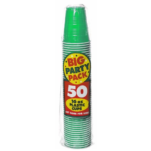 Amscan Big Party Pack 50 Count Plastic Cups, 16-Ounce, Green