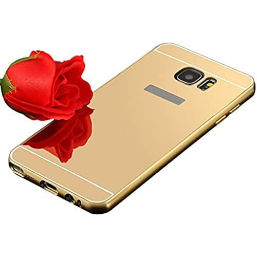 UPLOTER 2016 Aluminum Metal Bumper Case PC Mirror Back Cover For Samsung Galaxy S7 (Gold) Sales