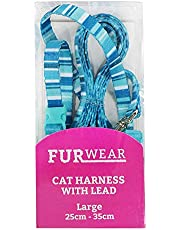 Furwear Fashion Cat Harness with Lead, Large, Blue