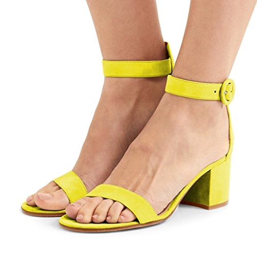 FSJ Women Basic Open Toe Sandals With Block Heels Faux Suede Ankle Strap Pumps Size 4-15 US Yellow collections online popular cheap exclusive cheap for nice sGlnZUk