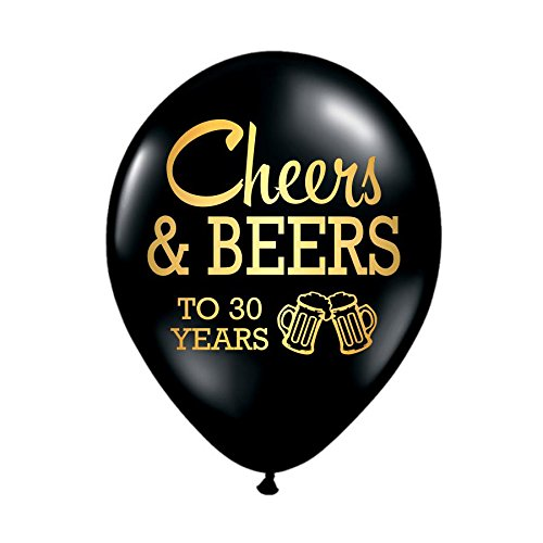 White Rabbits Design Cheers and Beers to 30 Years, 30th Birthday Party Balloons, Set of 3, 30th Birthday Party Decorations, 30th Birthday Ideas, Balloons, Metallic Gold and Black, Beers