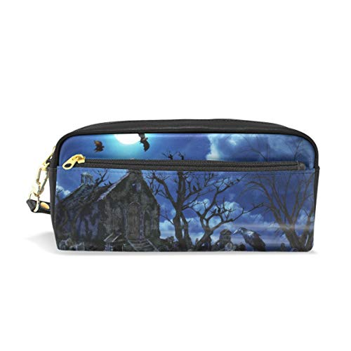 (WIHVE 3D Halloween Naked Tree Graves PU Leather Pencil Case Pen Holder Stationery Pouch Bag Makeup Cosmetic Bag Large)