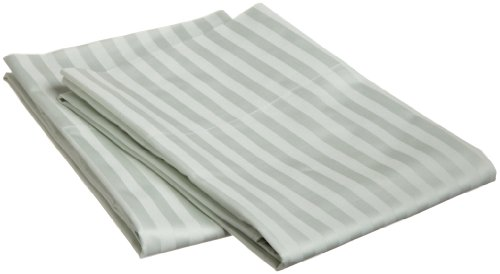 100% Egyptian Cotton 650 Thread Count King 2-Piece Pillowcase Set, Single Ply, Stripe, Mint (Thread Sateen 650)
