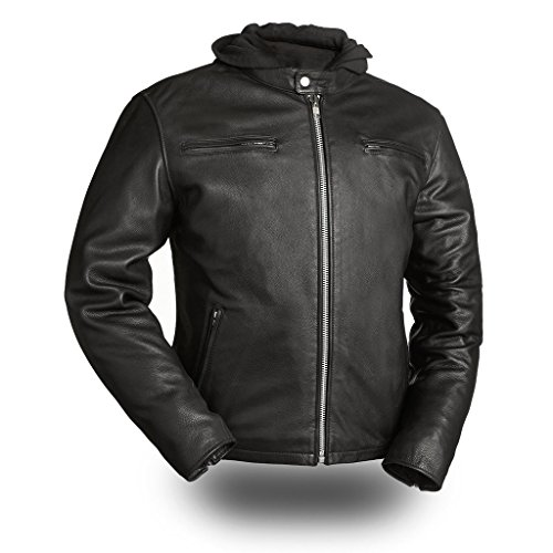 First Mfg Co Men's Street Cruiser Leather Jacket (Black, X-Large)