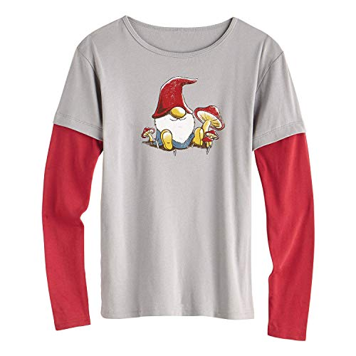 (Green 3 Women's Christmas Gnome T-Shirt - Long Sleeve Organic Cotton Nisse Tee - Medium)