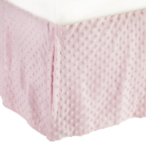 American Baby Company Heavenly Soft Minky Dot Tailored Crib Skirt, Pink, for Girls