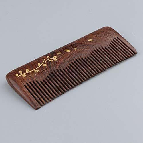 Exquisite Handmade Natural Sandalwood Hair Comb Detangling Brush No-Static | Style - Plants