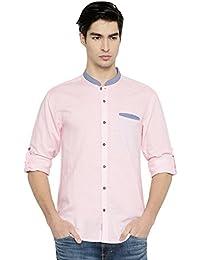PIVOTO Men Pink Slim Fit Solid Casual Shirt