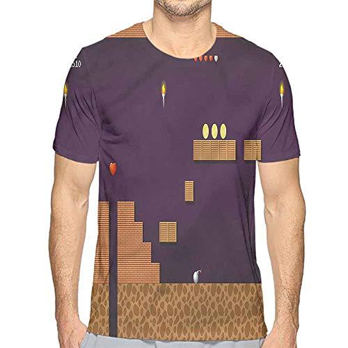 - Mens t Shirt Boys Room,Video Game Screen Coins HD Print t Shirt XL