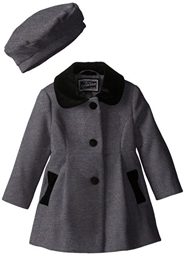 Suede Two Pocket Coat (Rothschild Little Girls' Faux Wool Bow Pocket Coat, Charcoal, 4T)