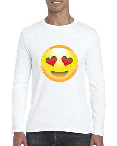Emoji T-Shirt Emoji Smiling Face w Heart-Shaped Eyes Cute Birthday Gift Mens Long Sleeve - Heart Shaped Faces Men With