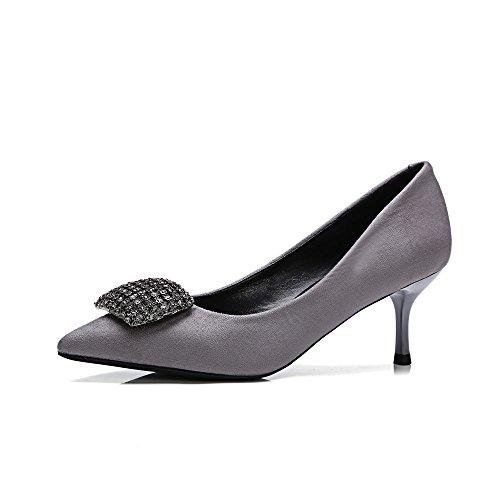 Nine Seven Moda Cuero Puntiagudos Zapatos de Tacón de Aguja con Diamantes de Imitacion de Vestir para Mujer gris