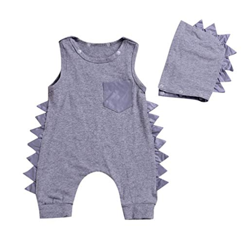Hunzed Newborn Baby Boys Girls Solid Dinosaur Romper Jumpsuit+Hat Set Outfits Clothes (24M, ()